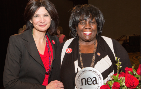 NEA President Lily Eskelsen García with 2015 ESP of the Year Janet Eberhardt.