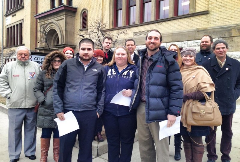 Ryan Marchese (third from right) and his colleagues outside Franklinton Prepatory in Columbus after they voted to join the Ohio Education Association.