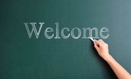 welcome written on blackboard
