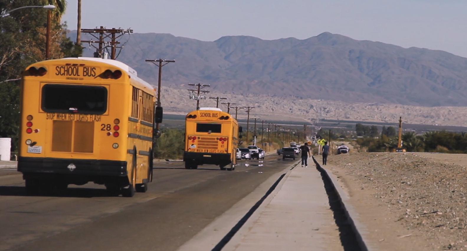 In Coachella Valley, CA., routers have been placed on school buses to enable students to do homework coming and going from school. Photo: PBS NewsHour