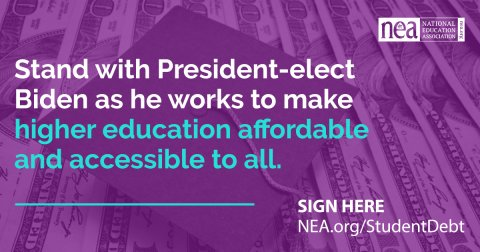 Stand with President-elect Biden as he works to make higher education affordable and accessible to all.