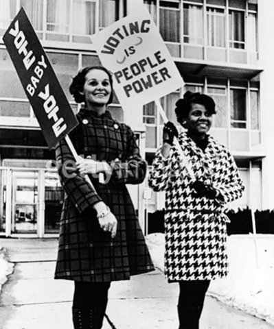Young women stand up for the power of the vote, c. 1970.