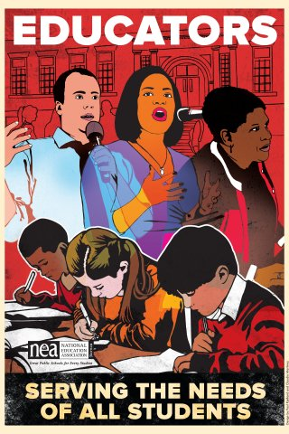 """A colorful illustrated poster shows three racially diverse adults speaking at microphones and three racially diverse students studying at desks. The poster says, """"Educators serving the needs of students."""""""