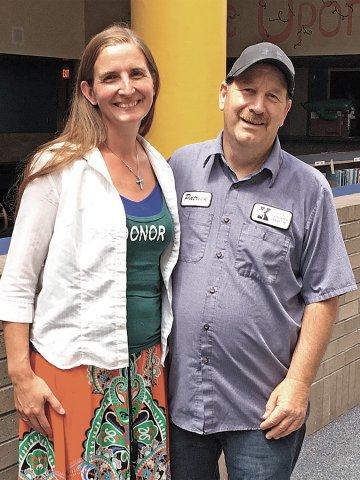 Teacher Erin Durga and custodian Pat Mertens