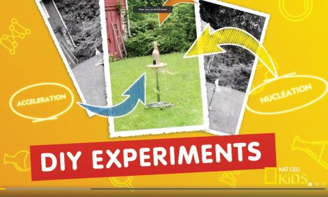 """Screen shot of National Geographic Kids website with word """"DIY Experiments"""" and arrows pointing to a picture of a homemade science experiment."""