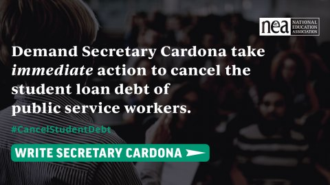 Write Secretary Cardona to demand he take immediate action to cancel the student debt loan of public service workers.