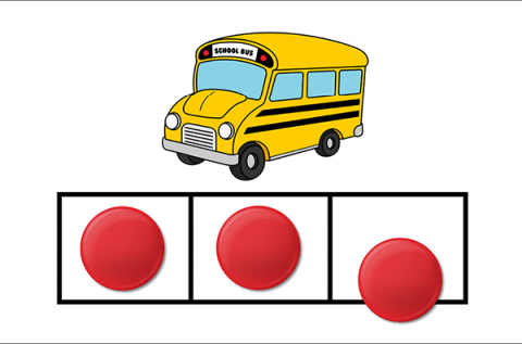 Image of a bus with dots to demonstrate letters