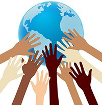 graphic image of many diverse hands supporting the earth
