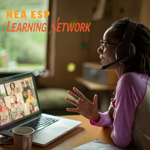 A photo of woman interacting with colleagues on zoom with the ESP Learning Network logo overlay