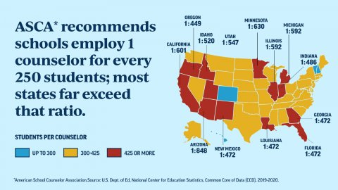 US map showing ratios of school counselors to students